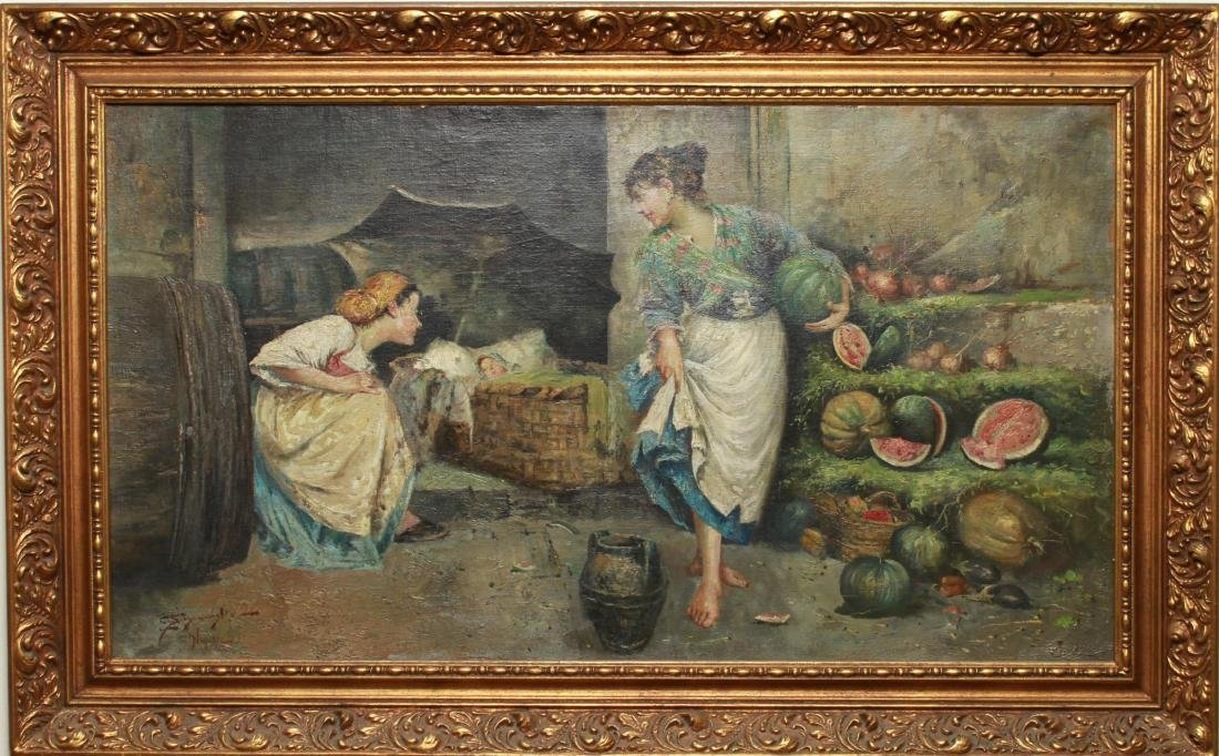 E. Scognamiglio Two Women Selling Watermelons Oil