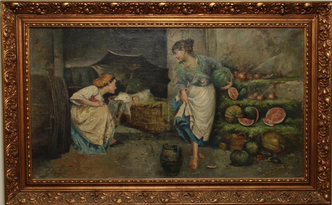 E. Scognamiglio Two Women Selling Watermelons Oil - 2