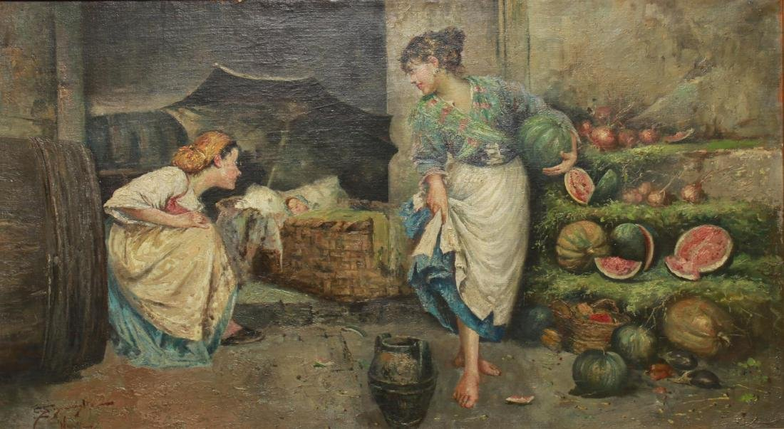 E. Scognamiglio Two Women Selling Watermelons Oil - 3
