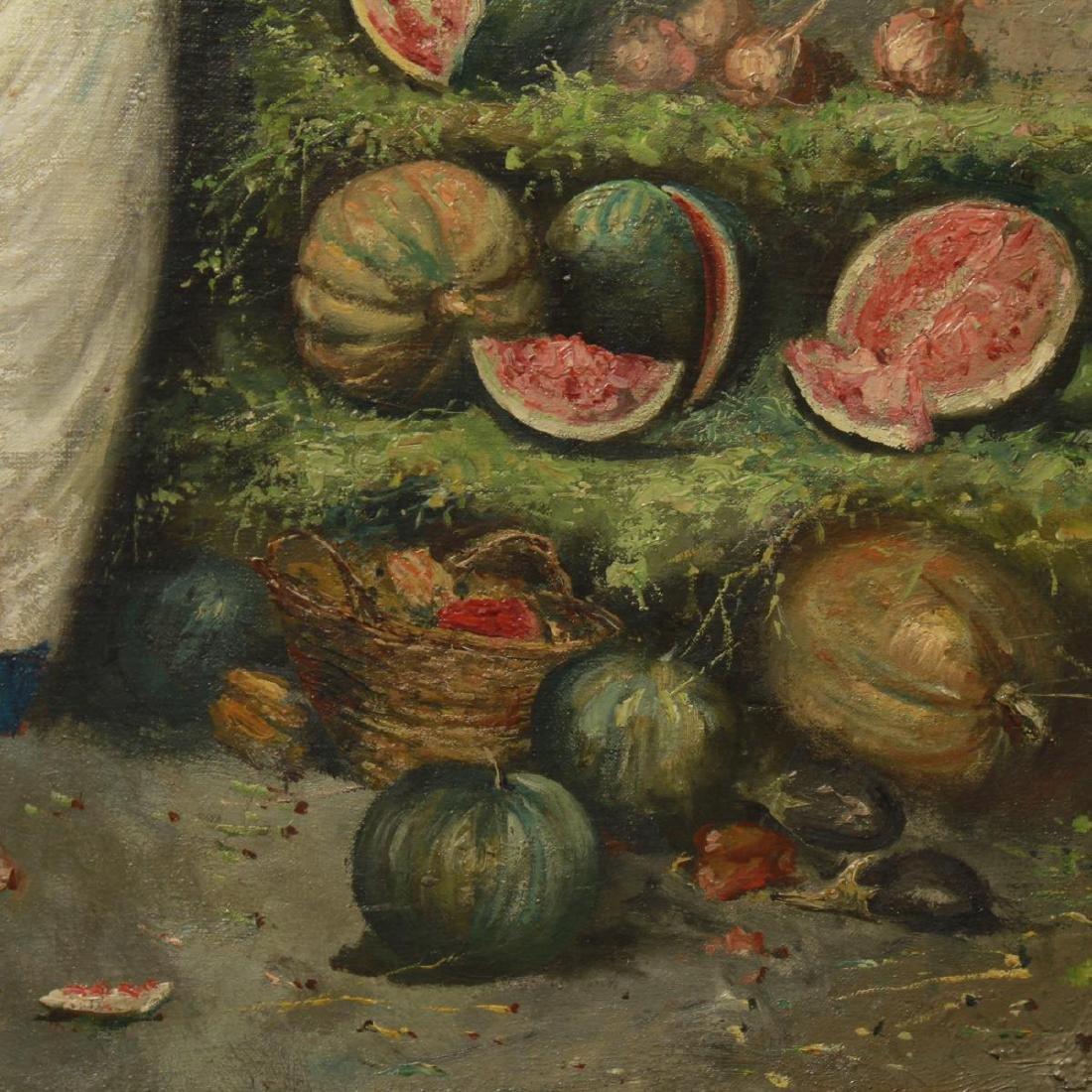 E. Scognamiglio Two Women Selling Watermelons Oil - 4