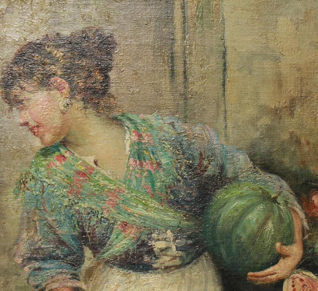 E. Scognamiglio Two Women Selling Watermelons Oil - 6