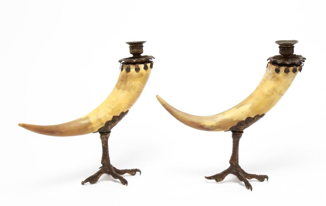 Anthony Redmile Manner Mounted Horn Candle Holders