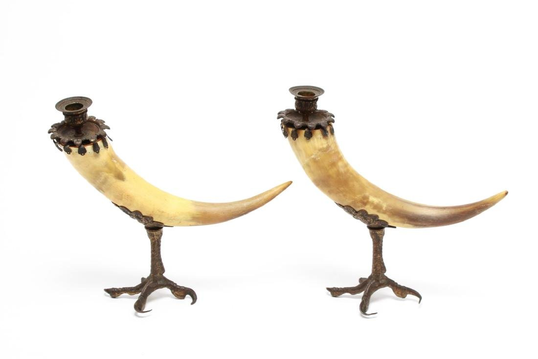 Anthony Redmile Manner Mounted Horn Candle Holders - 2