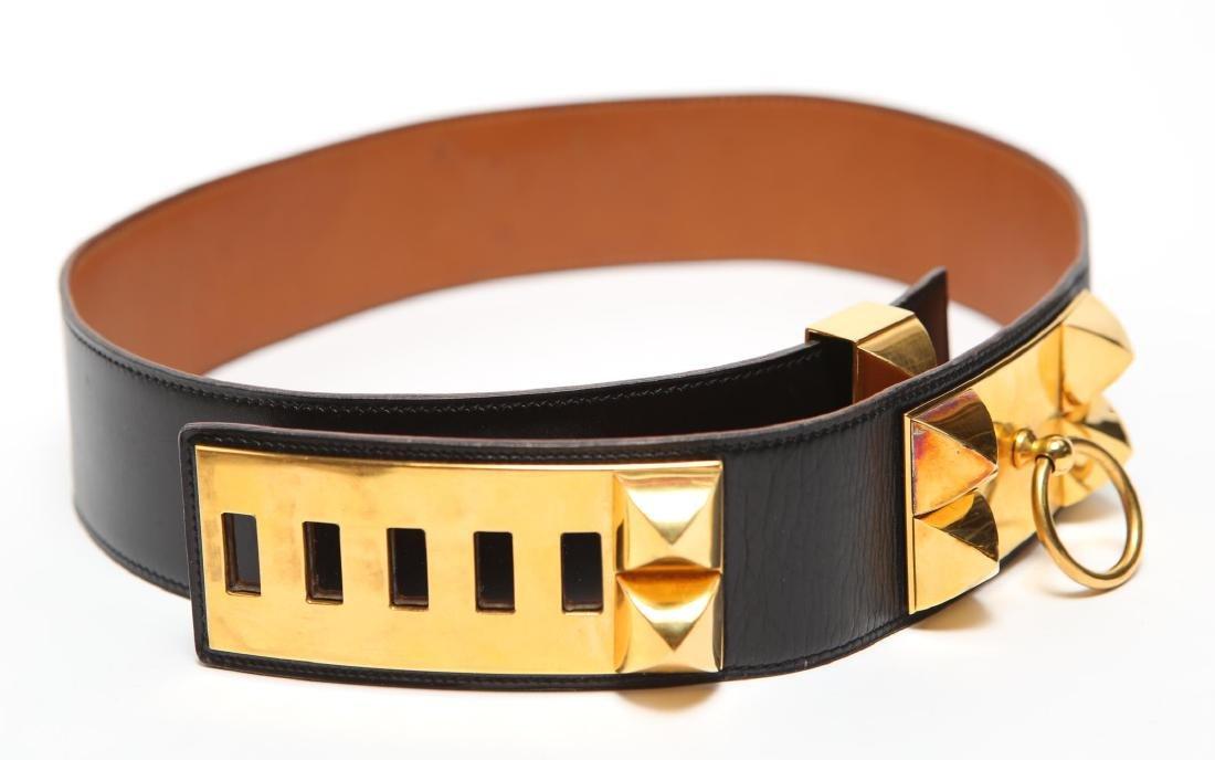 Hermes Collier De Chien Lady's Belt, Black Leather