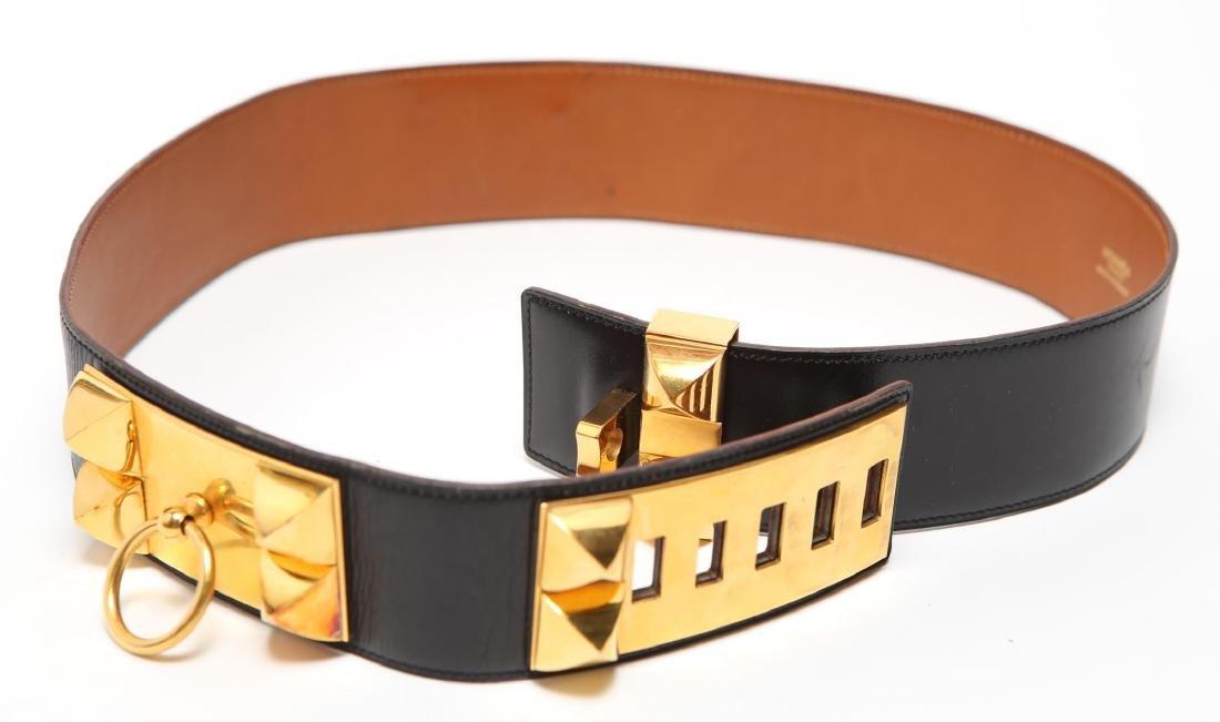 Hermes Collier De Chien Lady's Belt, Black Leather - 2