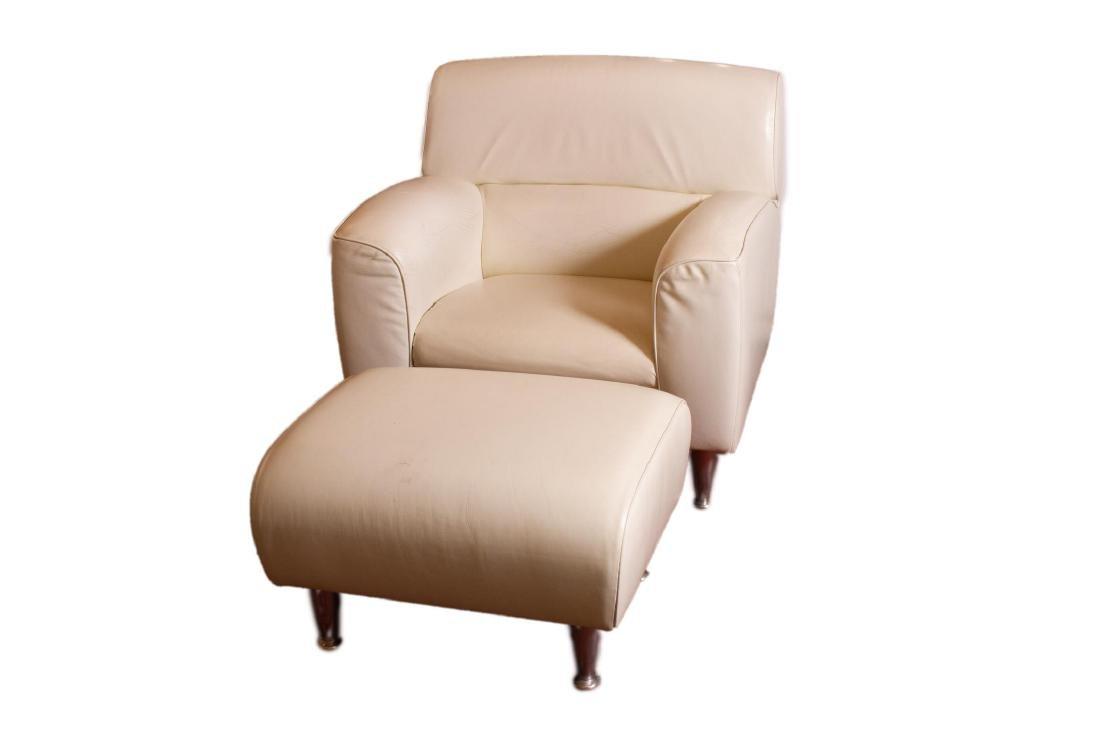 "Poltrona Frau Leather ""Madison"" Chair & Ottoman"