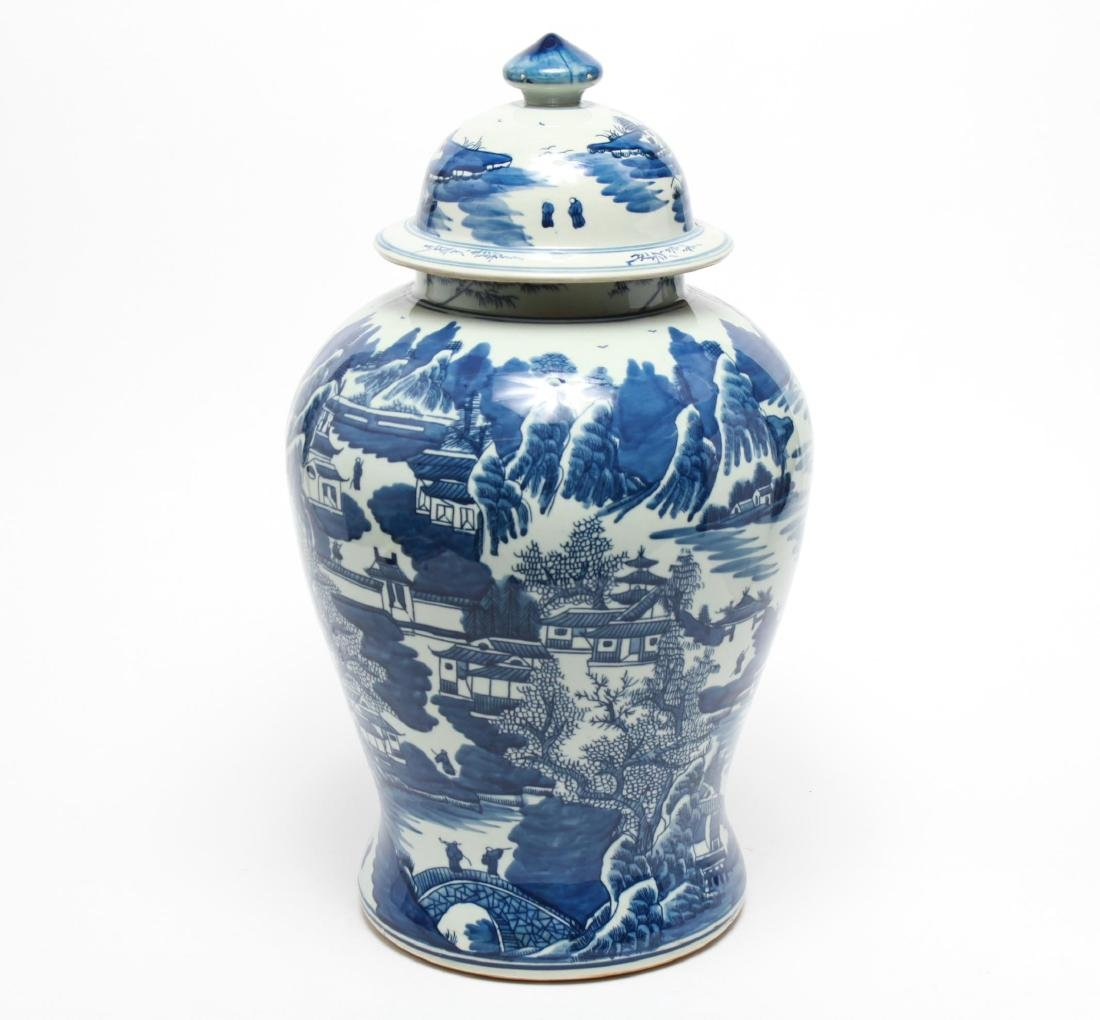 Chinese Blue & White Porcelain Baluster Urn