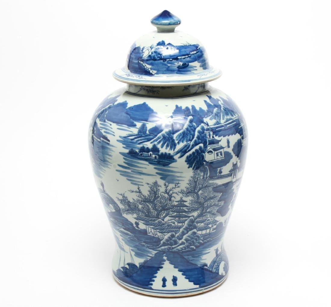 Chinese Blue & White Porcelain Baluster Urn - 4