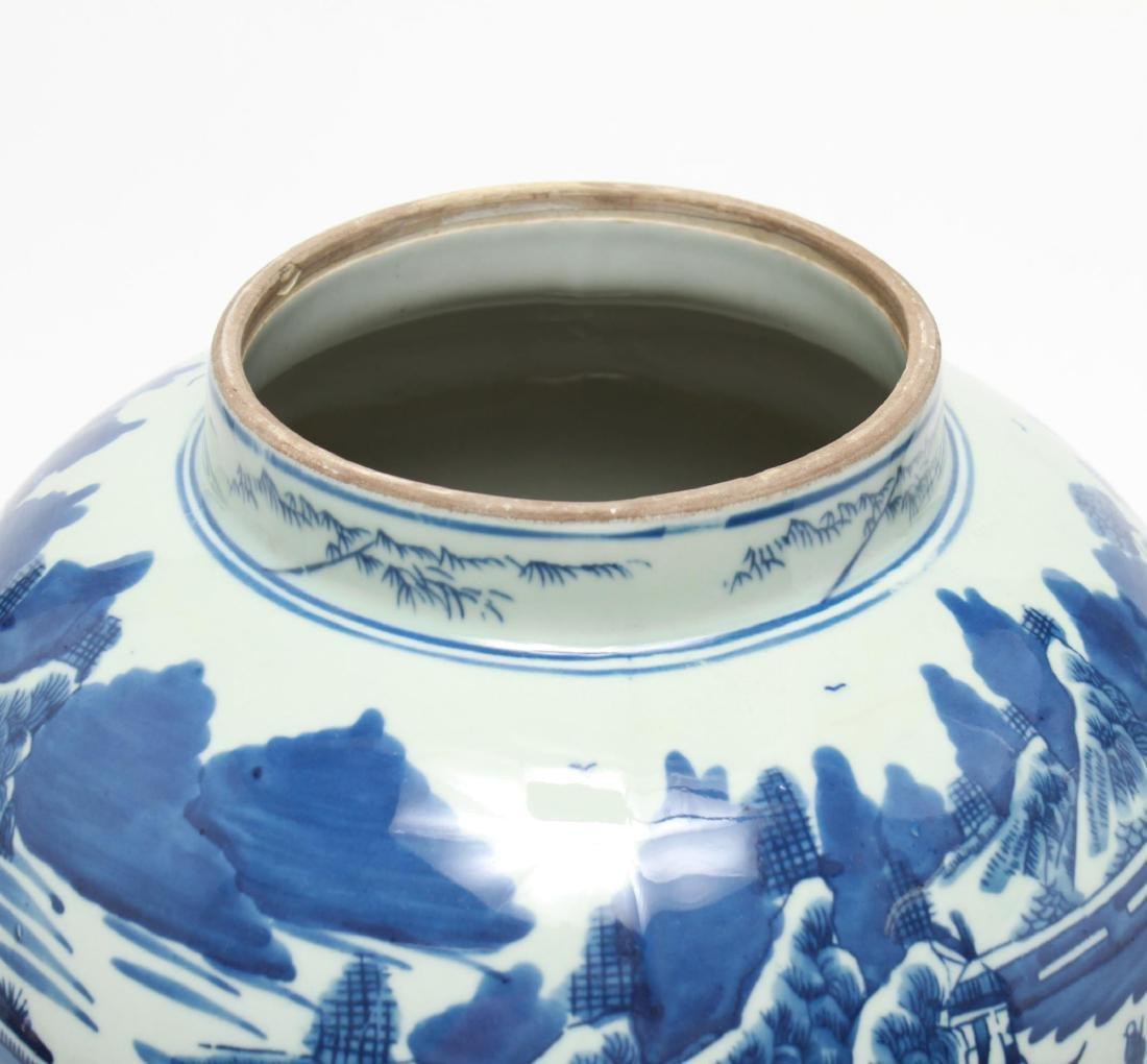 Chinese Blue & White Porcelain Baluster Urn - 5