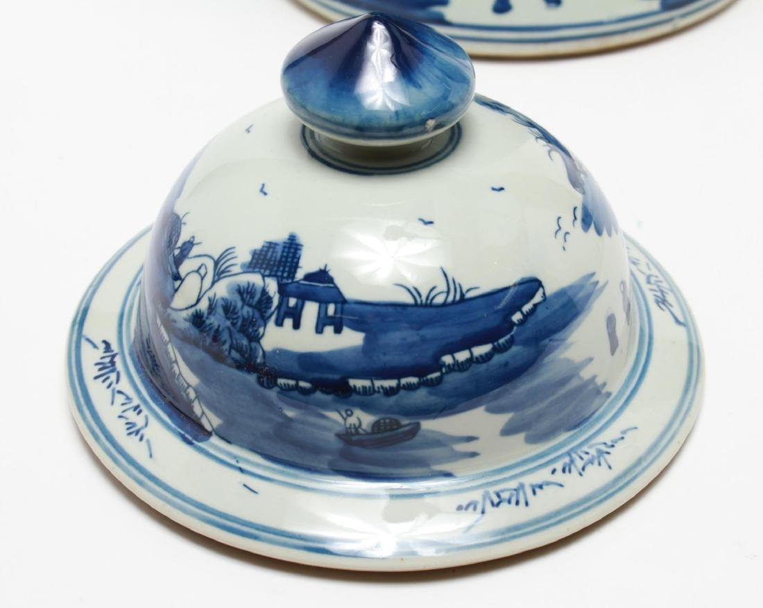 Chinese Blue & White Porcelain Baluster Urn - 6