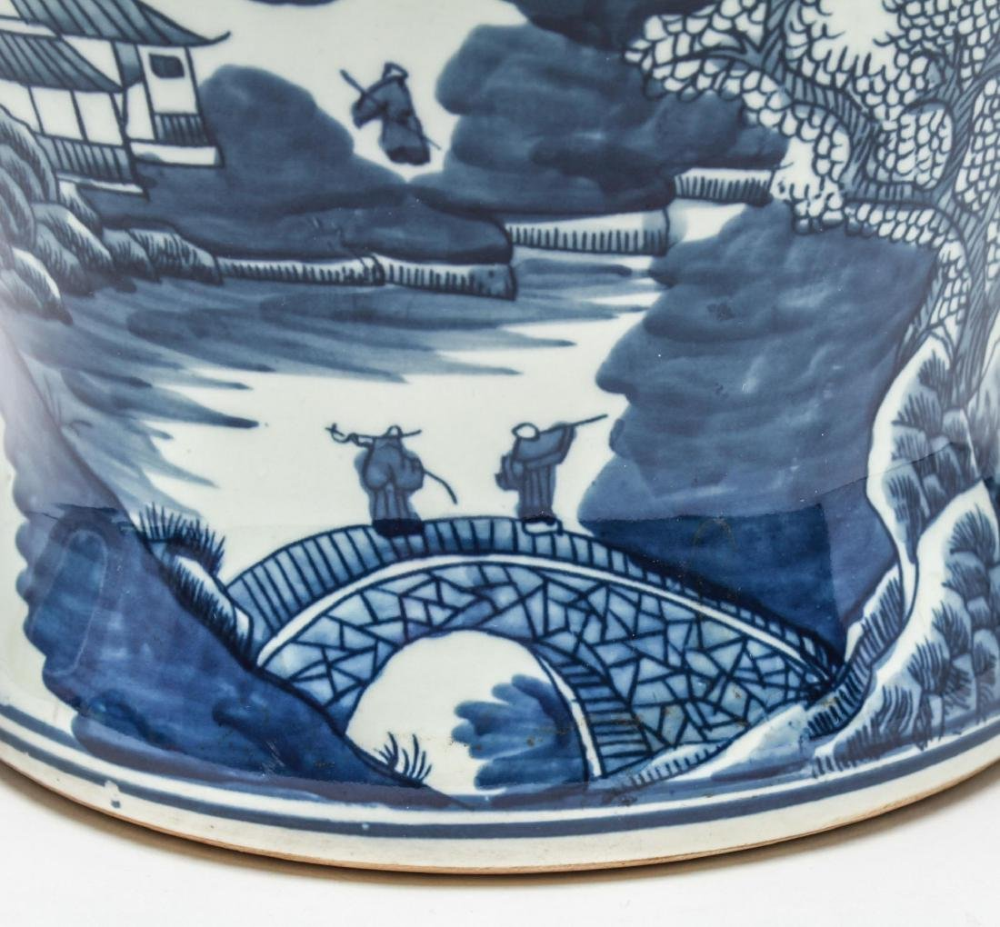 Chinese Blue & White Porcelain Baluster Urn - 8