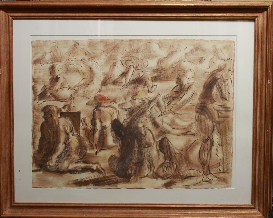 Reginald Marsh (attrib.) Figures, Oil on Paper