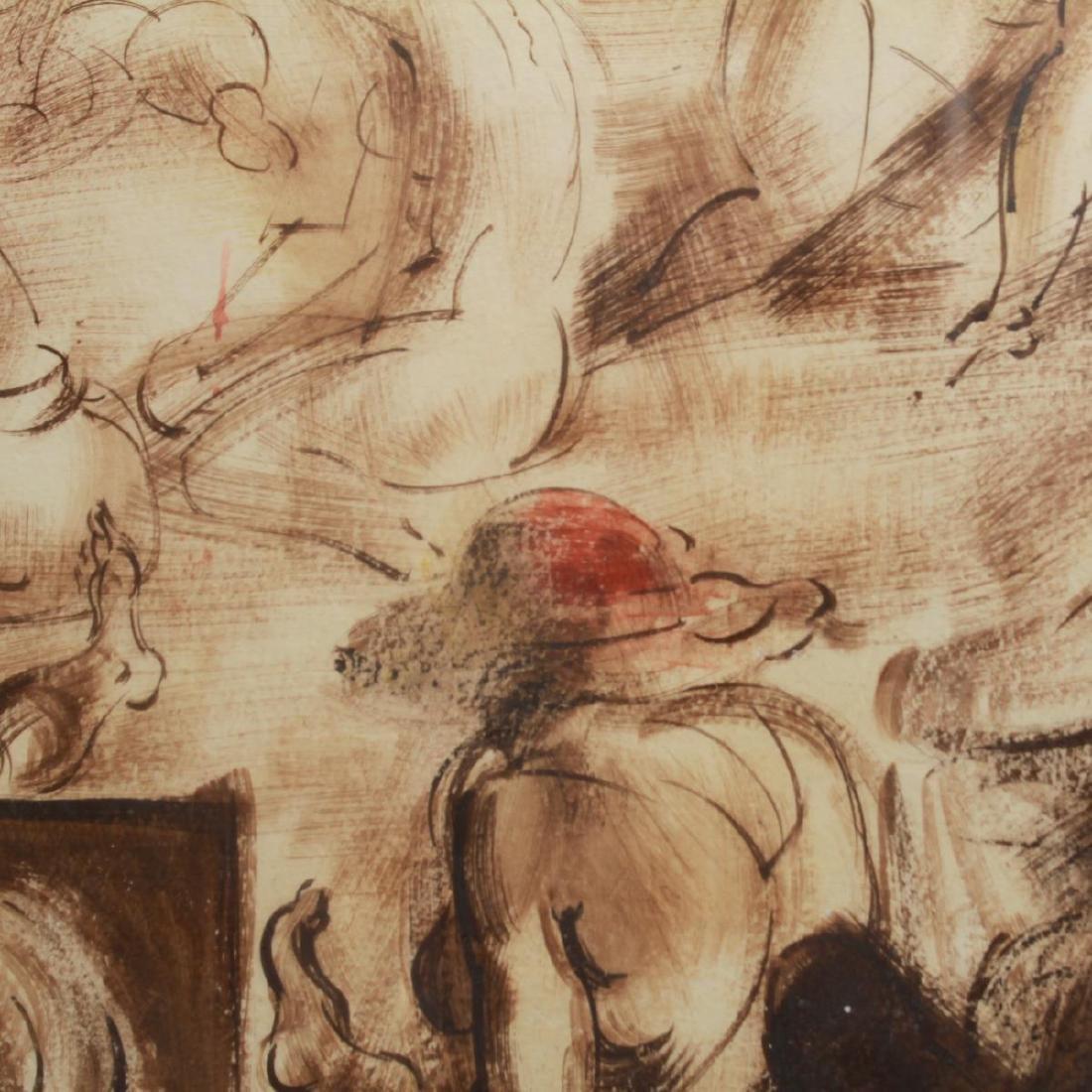 Reginald Marsh (attrib.) Figures, Oil on Paper - 3