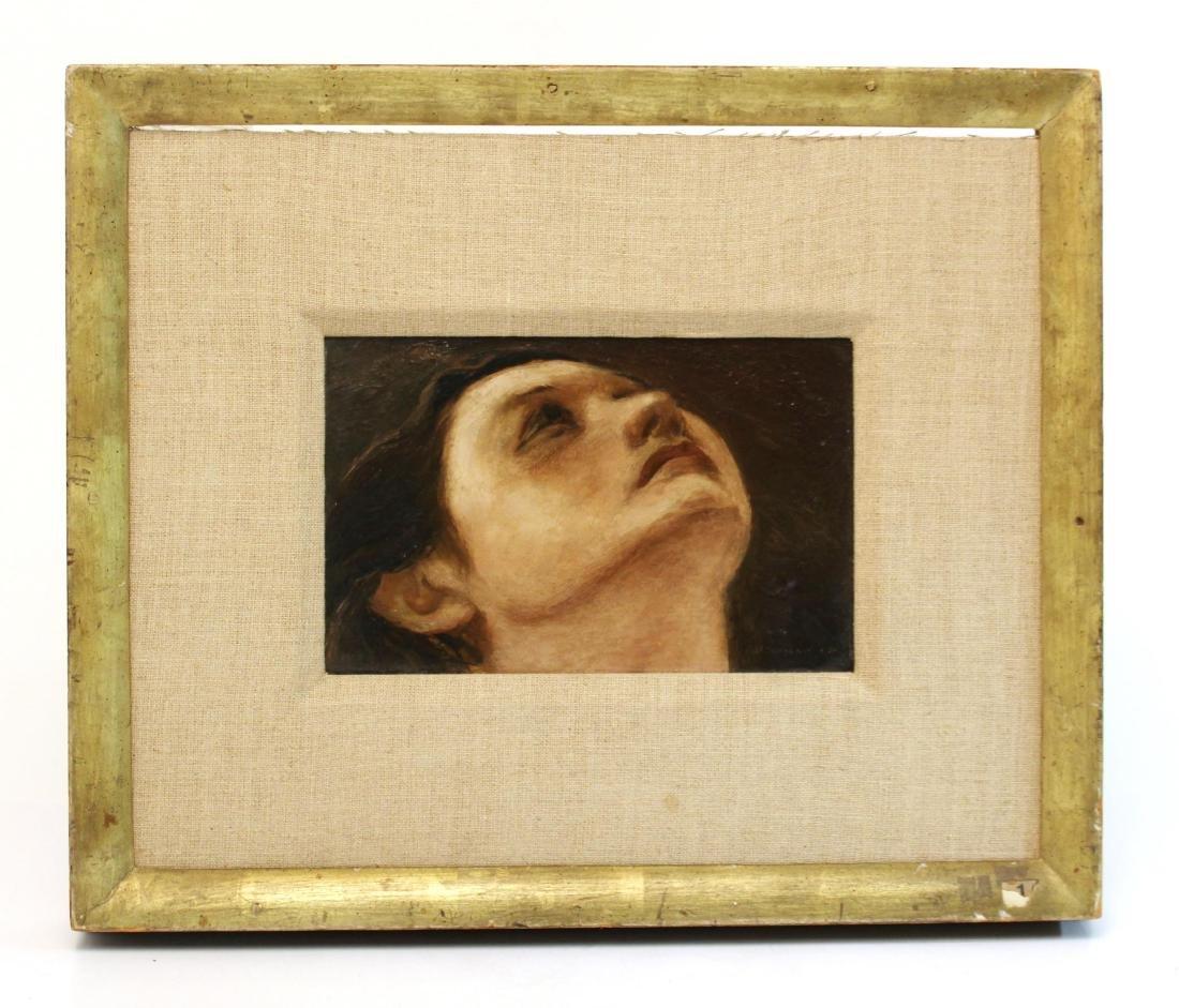 """Julian Edwin Levi """"Head"""" Oil on Board 1934"""