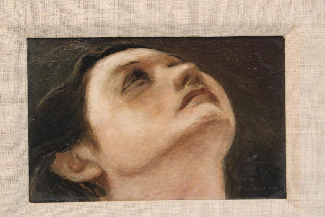 """Julian Edwin Levi """"Head"""" Oil on Board 1934 - 2"""
