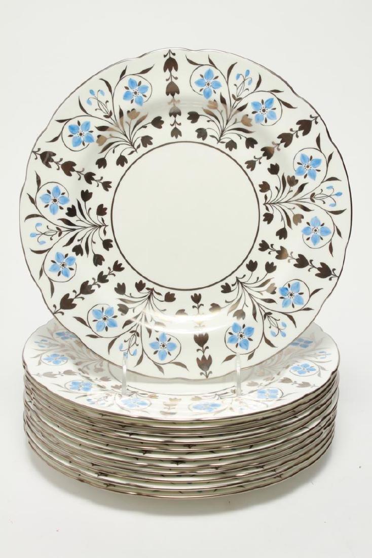 Wedgwood Platinum Lustre Anemones Dinner Plates 12