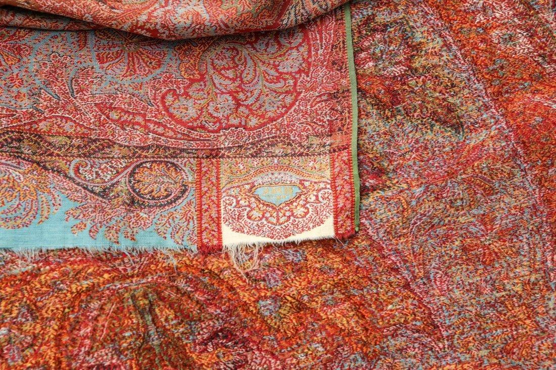 Antique Scottish Wool & Silk Shawl, 19th C. - 3