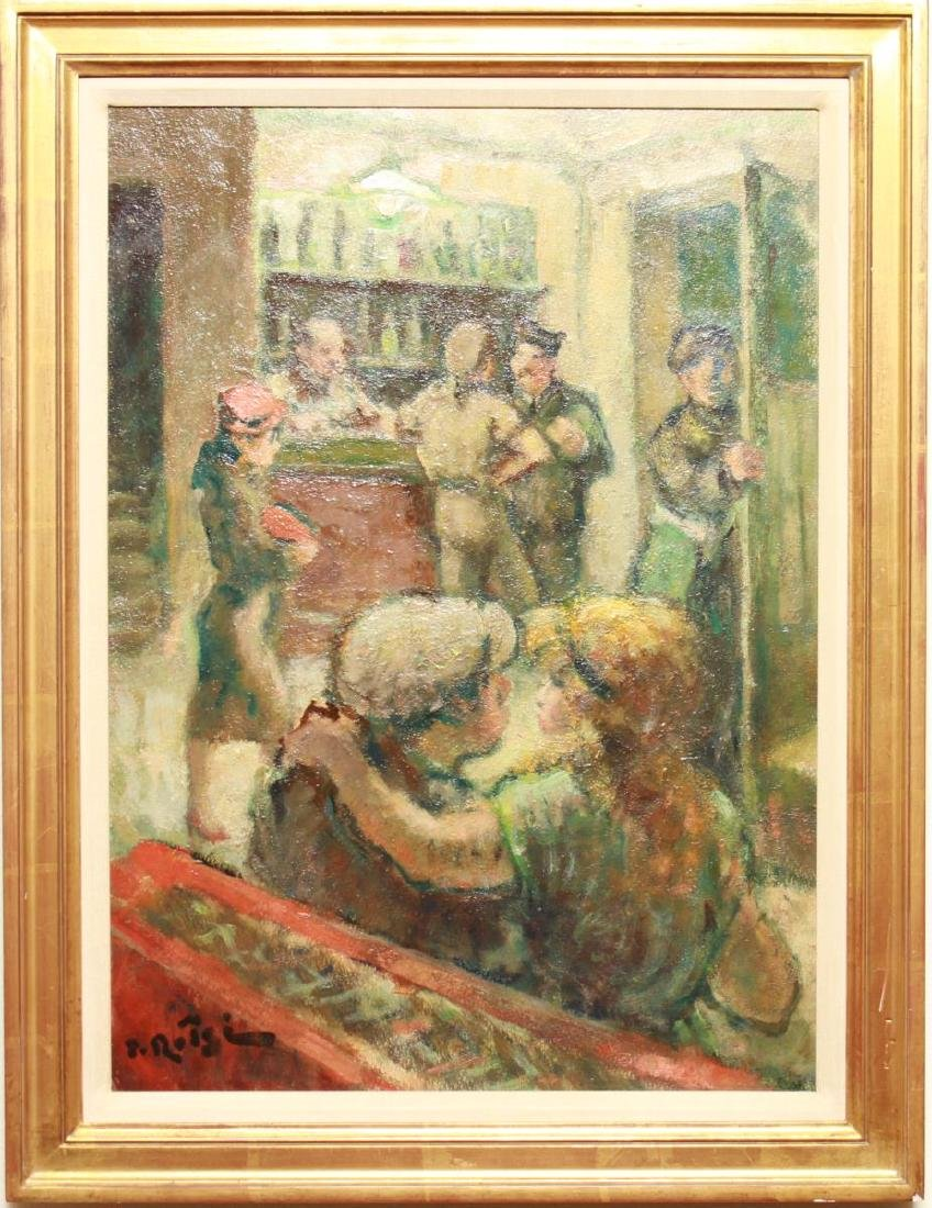 Bar Scene w Servicemen Signed Oil on Board c. 1940