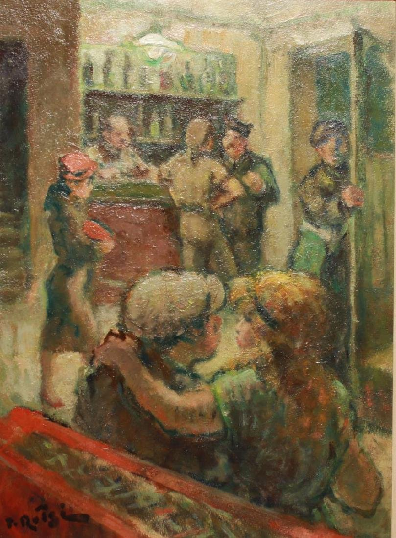 Bar Scene w Servicemen Signed Oil on Board c. 1940 - 2