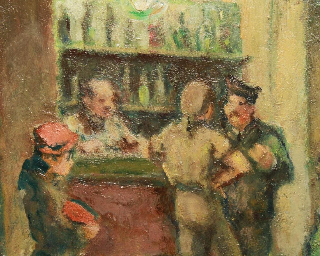 Bar Scene w Servicemen Signed Oil on Board c. 1940 - 3