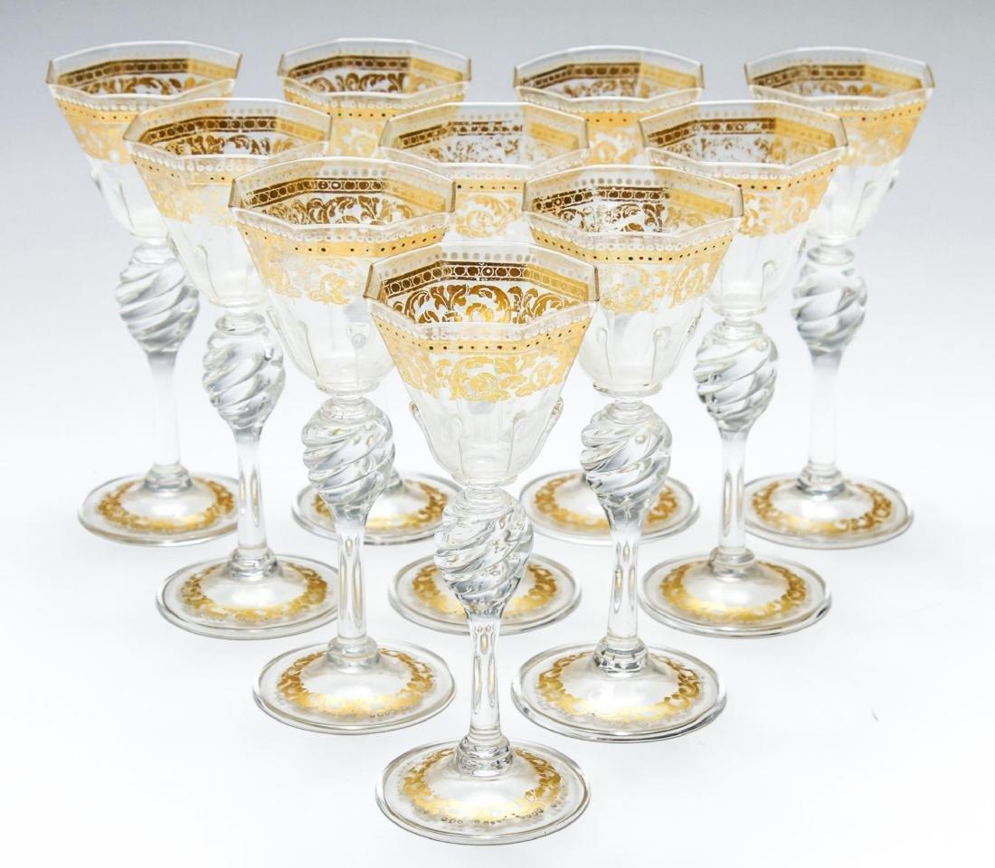 Salviati Murano Venetian Gilt Cordial Glasses, 10