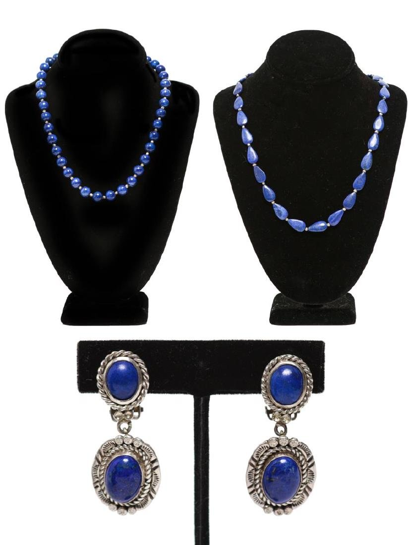 Sterling Lapis Lazuli Navajo Earrings, Necklaces 3