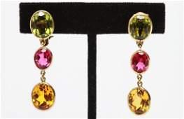 14K Gold Dangle Earrings Sapphires & Spinels, Pair