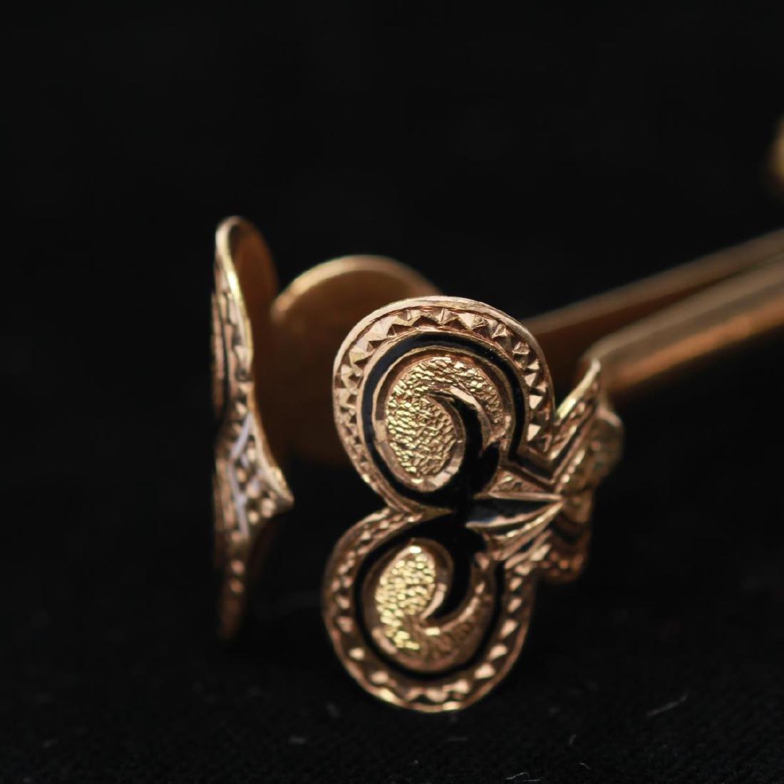 14K Gold Lady's Enamel Cigarette Holder w. Ring - 2