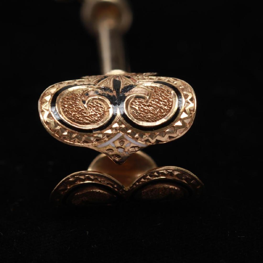 14K Gold Lady's Enamel Cigarette Holder w. Ring - 5