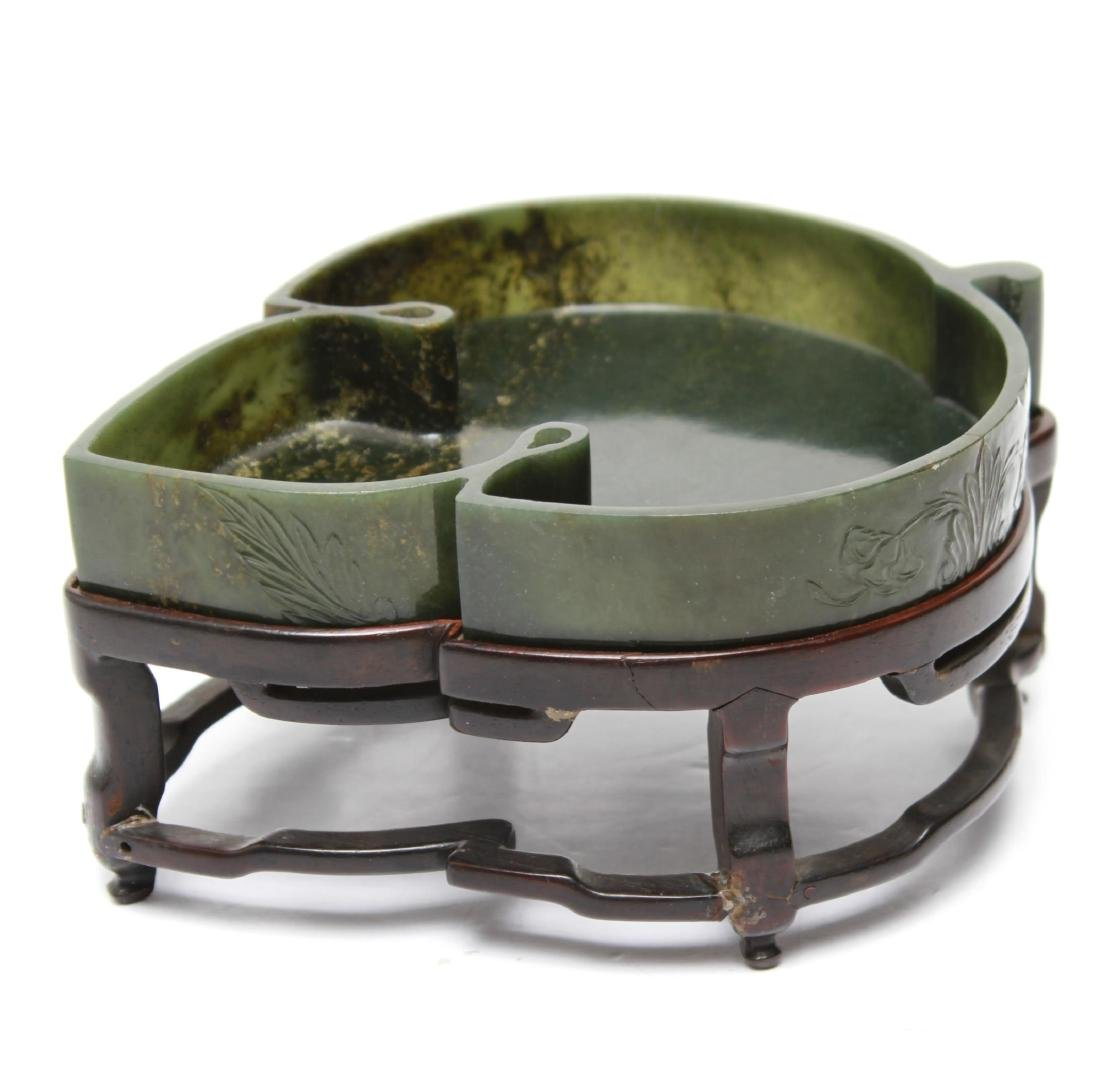 Chinese Nephrite Jade Leaf-Form Dish on Stand