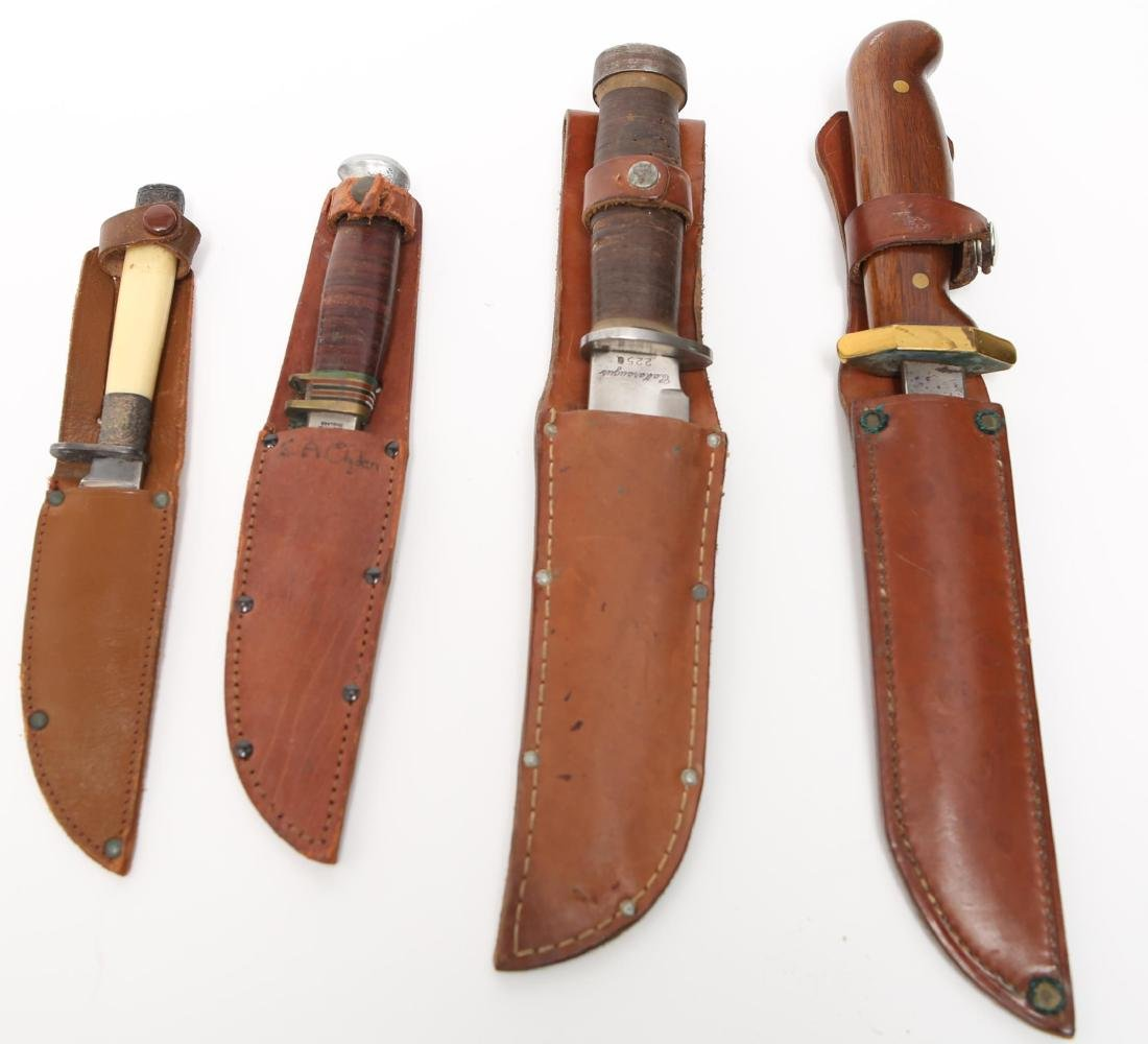 Vintage Hunting Knives with Leather Sheaths, 4