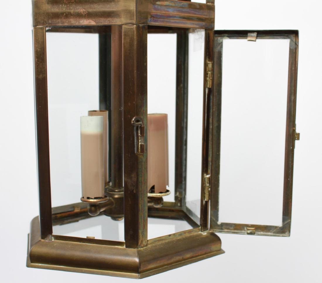 Pagoda Brass Lantern 3-Light Hanging Fixture - 3