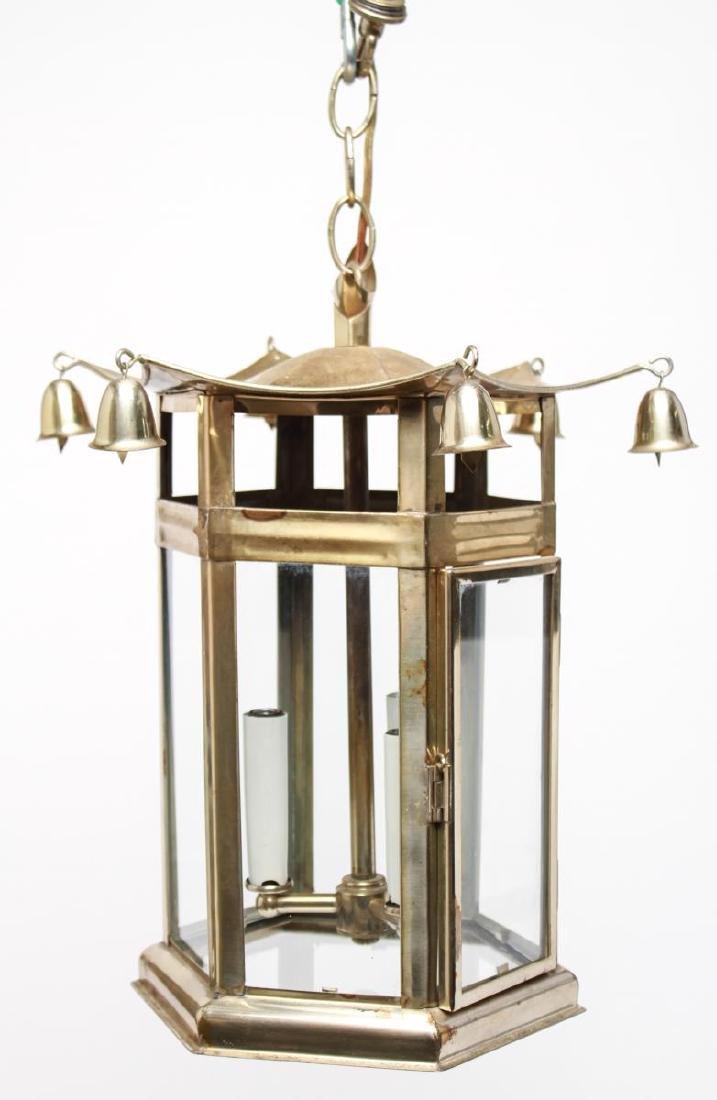 Pagoda Brass Lantern 3-Light Hanging Fixture