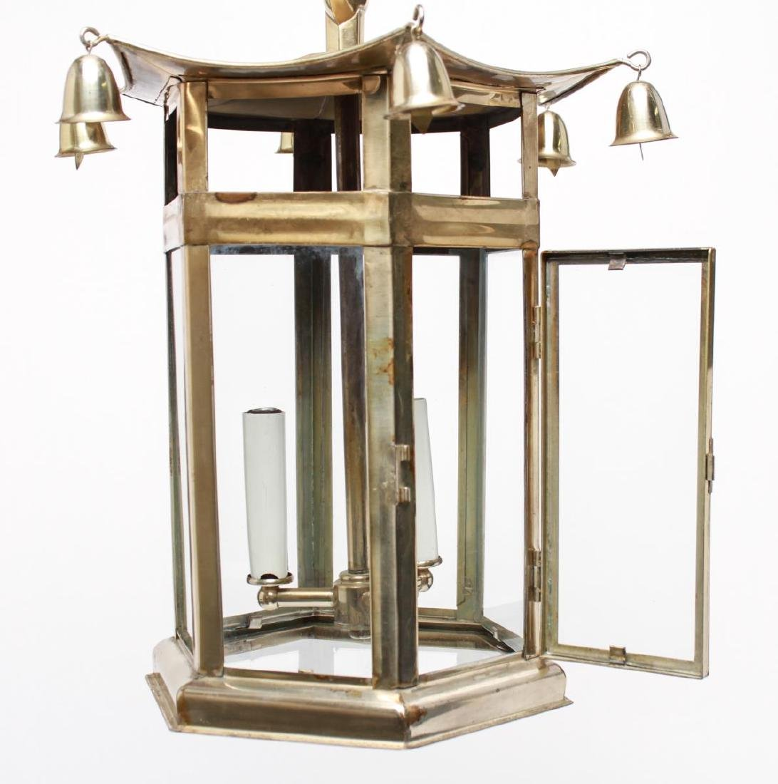 Pagoda Brass Lantern 3-Light Hanging Fixture - 2