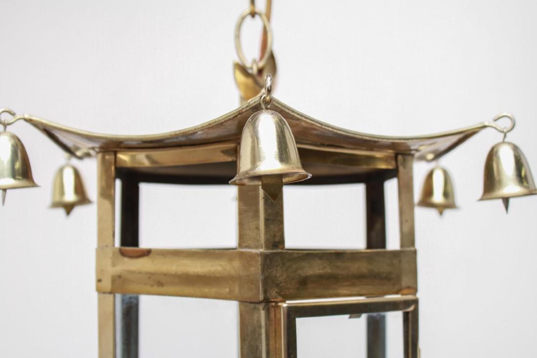 Pagoda Brass Lantern 3-Light Hanging Fixture - 5