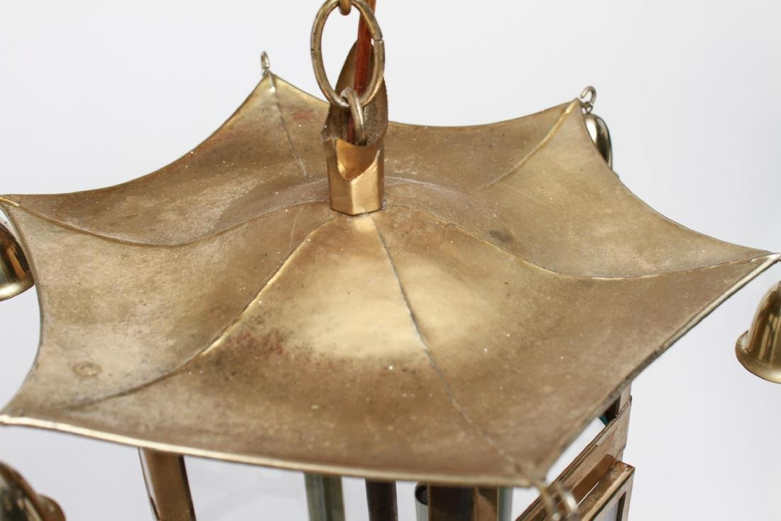 Pagoda Brass Lantern 3-Light Hanging Fixture - 6