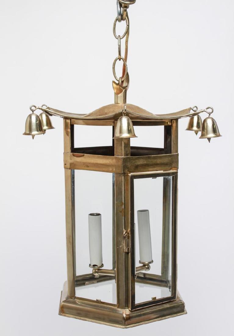 Pagoda Brass Lantern 3-Light Hanging Fixture - 7