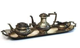 English Sterling Miniature Tea Set Hallmarked. 4