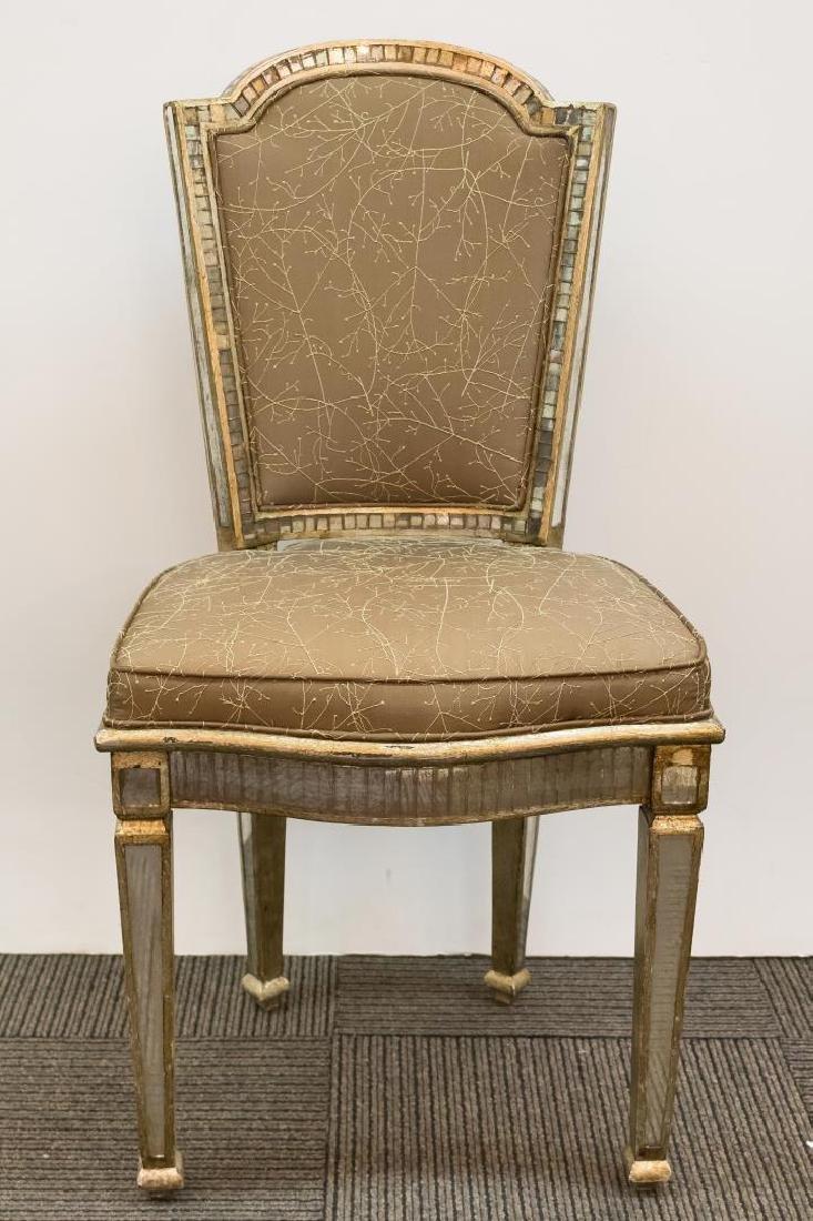Hollywood Regency Mirrored Vanity Chair - 2