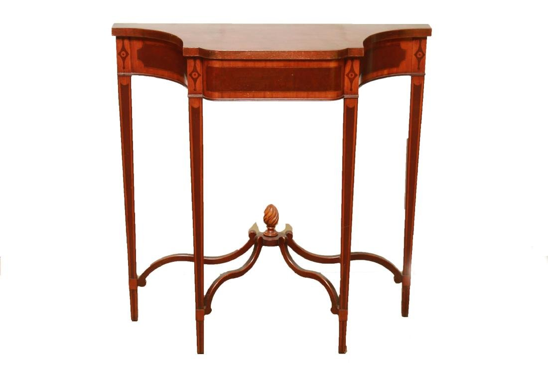 Parquetry Shaped Console Table, Small Vintage