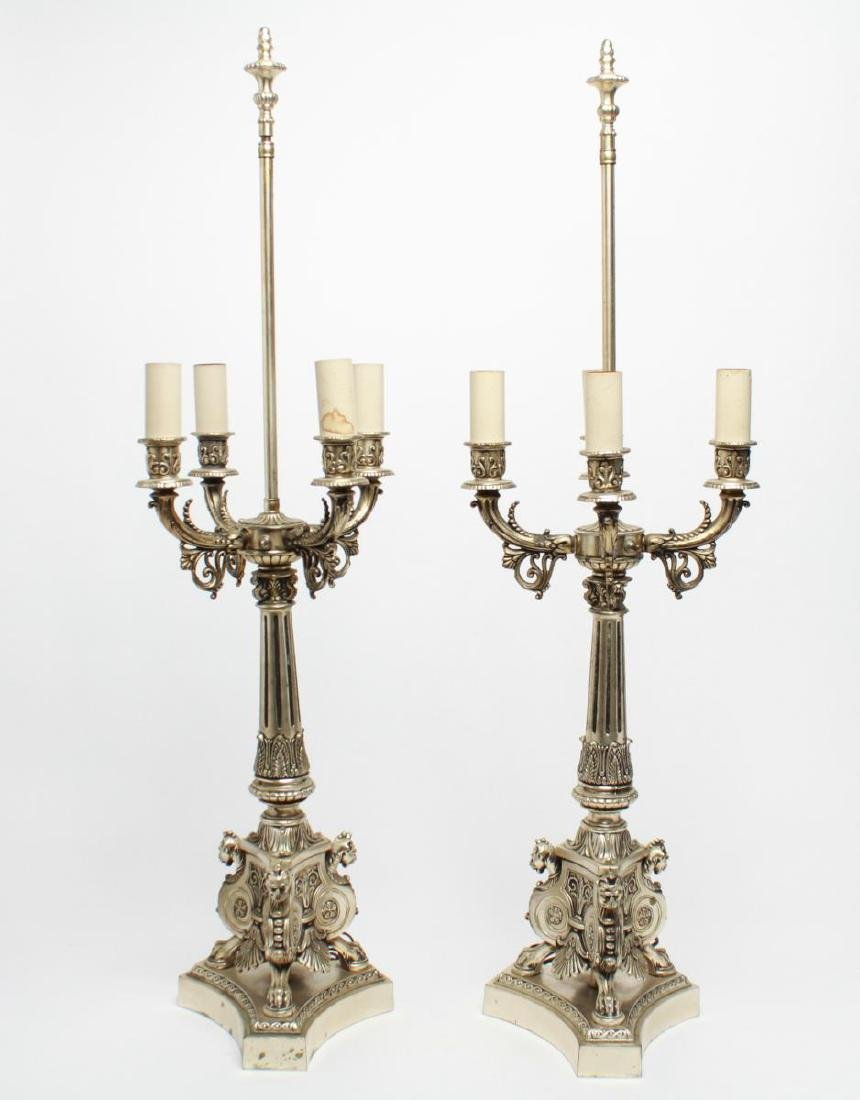 Empire-Manner Silvered Candelabra Lamps, Pair