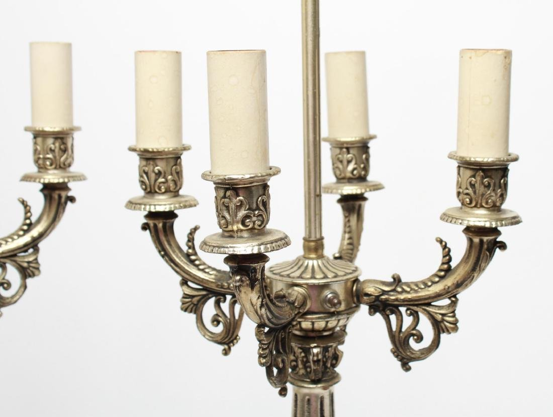 Empire-Manner Silvered Candelabra Lamps, Pair - 2