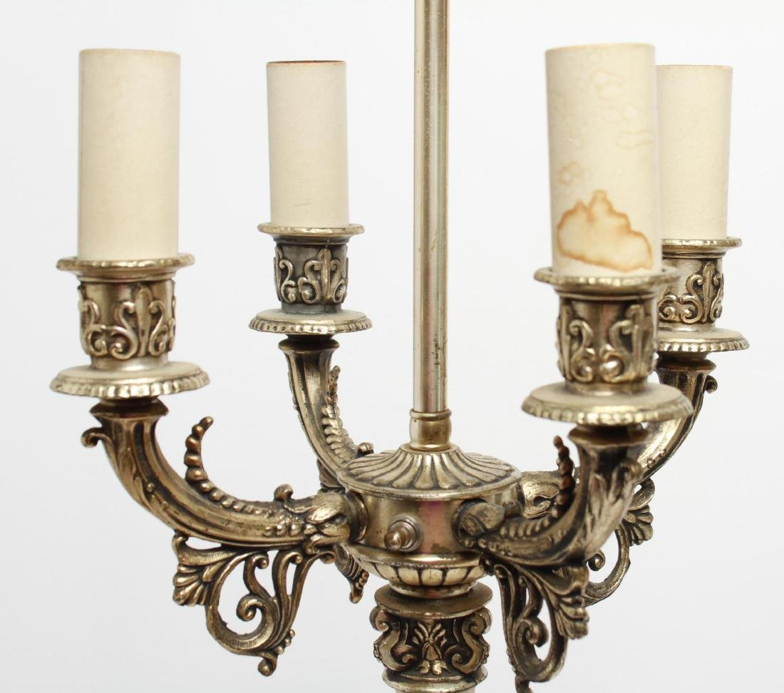 Empire-Manner Silvered Candelabra Lamps, Pair - 7