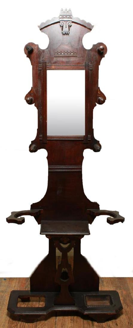 Eastlake Carved Wood & Hall Stand w Mirror