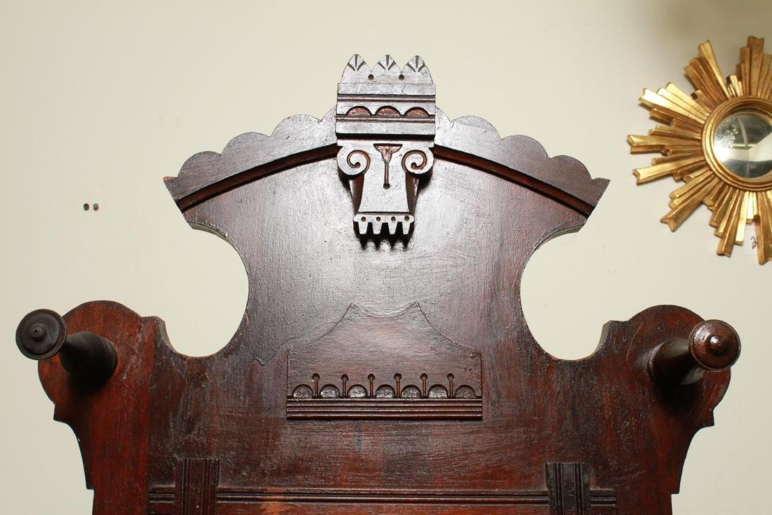 Eastlake Carved Wood & Hall Stand w Mirror - 5