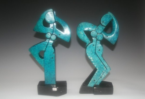 7: Pair of Signed Abstract Dancing Female Sculptures