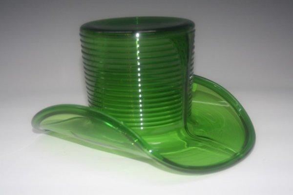 19: Green Depression Glass Man's Hat c1930s-1940s