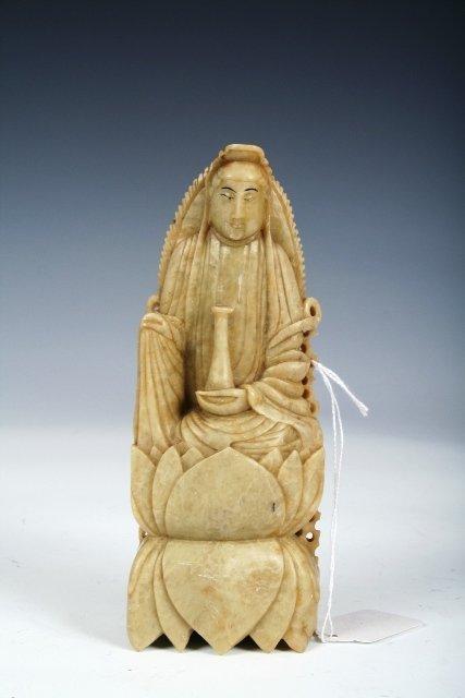 276: 20th C Chinese Jade Buddha & Lotus Figure