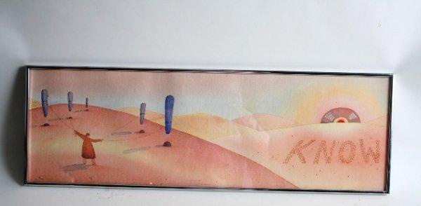 "433: Jean-Michael Folon Watercolor ""Know"" Painting"