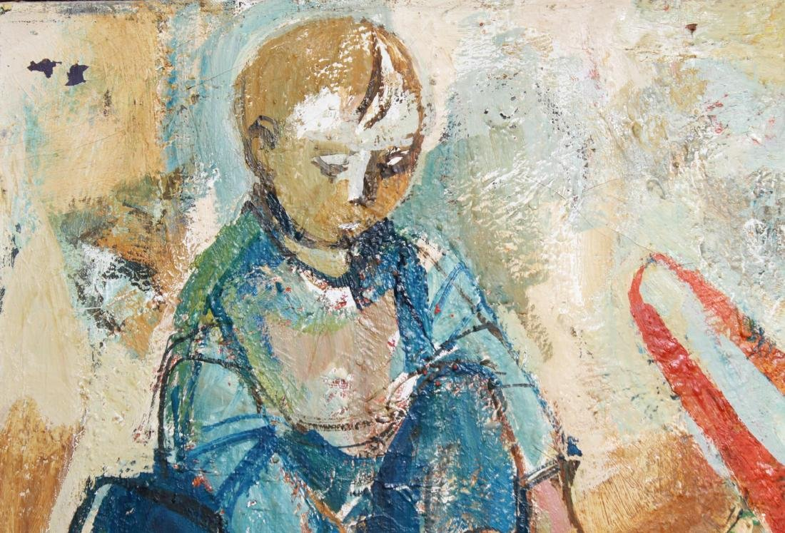 Girl with Doll, Signed Illegibly, Oil on Canvas - 2